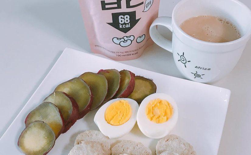 มื้อกลางวัน # 2018.02.12 ไดอารี่อาหาร นมถั่วเหลืองสมุนไพรมันฝรั่งหวานไข่ต้มลูกไก่ Dano ไก่น้อย – . . แปลกตาของวันนี้มันเร็วมาก