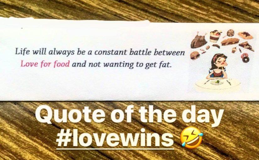.. เพราะความรักมักจะทำงานและคุณจะกลายเป็นไขมัน  อ้างจากวัน #quoteofthe …