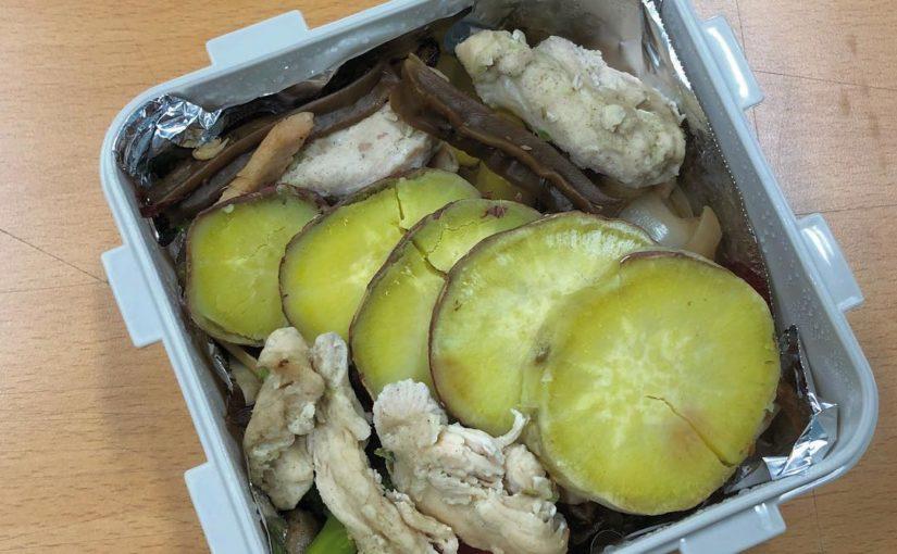 # อาหารกลางวันบราวนี่ – ไก่ย่างอบแห้งไก่ย่าง + มันฝรั่งหวาน (# อบแห้ง, ไก่, พริก, กะหล่ำปลี, หอม, กระเทียม, ผักชนิดหนึ่ง, มันฝรั่งหวาน) – ฉันเคยกินเห็ดแห้งพร้อมกัน