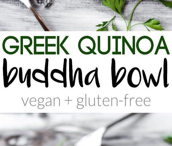 เต็มไปด้วยสีเขียวและถั่วนี้กรีก Quinoa Buddha Bowl เป็นสุขภาพที่สมบูรณ์แบบ …